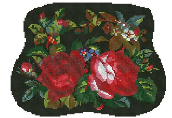 Chair seat  with roses antique digital pattern for Berliwork or cross stitch