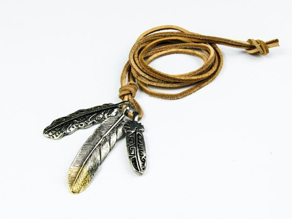 Genuine Leather Necklace with 3Pcs Metal Feather by AltGoodDesign