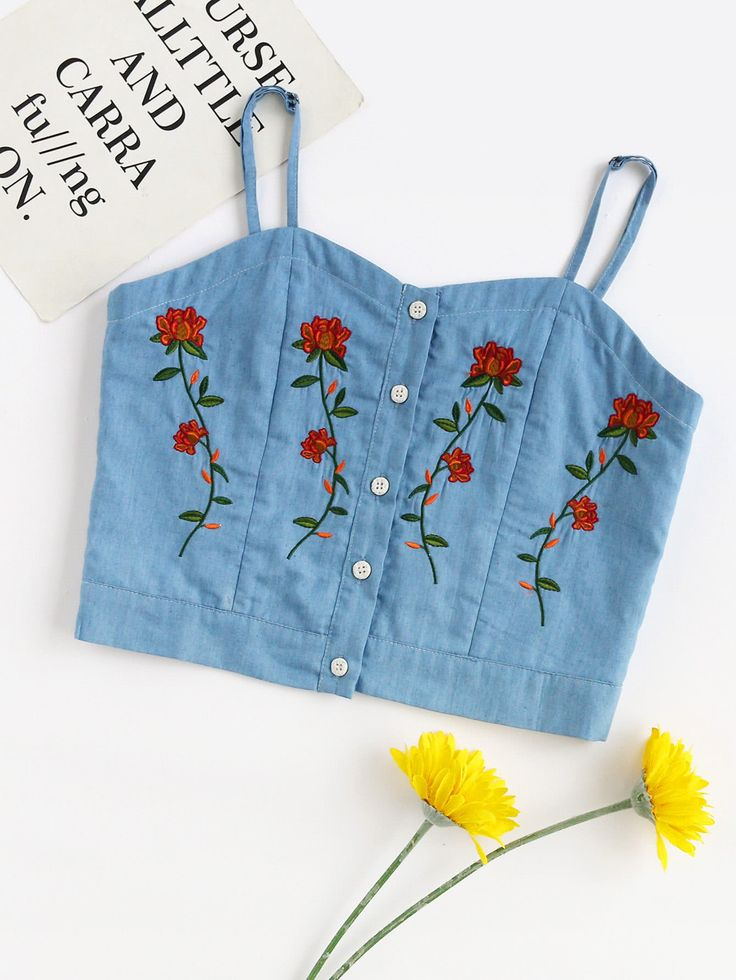 Shop Flower Embroidered Denim Cami Top online. SheIn offers Flower Embroidered Denim Cami Top & more to fit your fashionable needs.