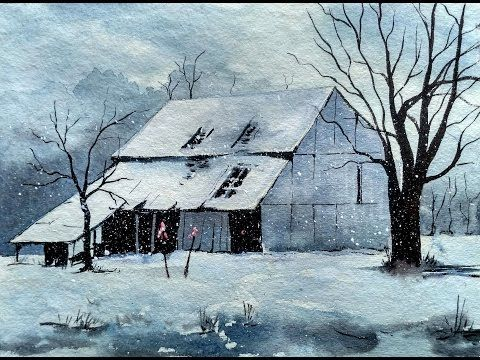 Snowy Winter Landscape with Watercolor Painting Tutorial for Beginners - YouTube