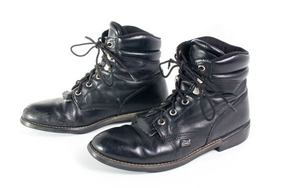 VTG 90's Justin Black Leather Roper Boots Womens size 7 Lace Up Riding Calf High Boots