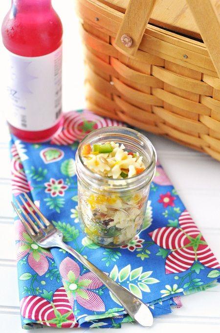 Mandarin Orange & Roasted Red Pepper Bowtie Pasta Salad Recipe with Lemon Honey Vinaigrette by Jennifer Leal @savorthethyme