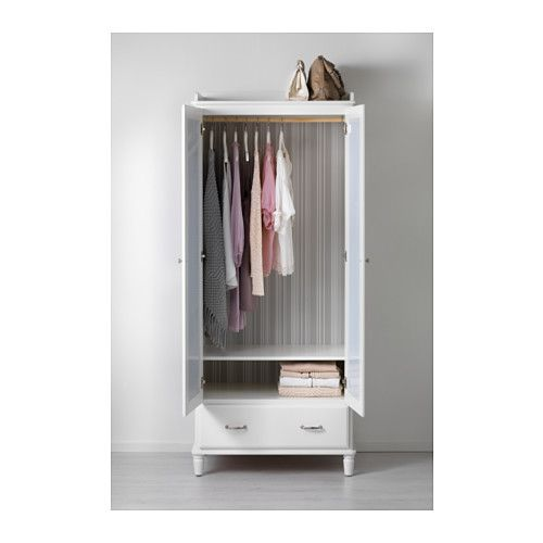 TYSSEDAL Wardrobe, white, mirror glass 34 5/8x22 7/8x81 7/8