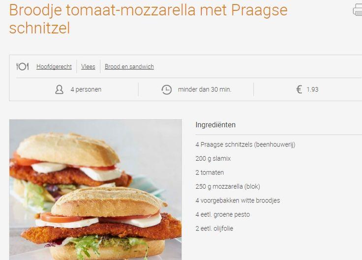 Broodje tomaat-mozzarella met Praagse schnitzel | Colruyt 1,93 €/p jan 2017 20 min
