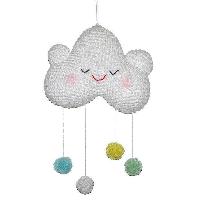 Happy babywolkje - Gehaakt wolkje met 4 dansende pompoentjes eronder in pastelkleuren