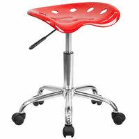 Flash Furniture LF-214A-RED-GG Red Office Stool with Tractor Seat and Chrome Frame
