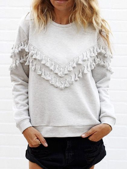 Shop Womem Grey Fringe Decorated Sweatshirt online. SheIn offers Womem Grey Fringe Decorated Sweatshirt & more to fit your fashionable needs.