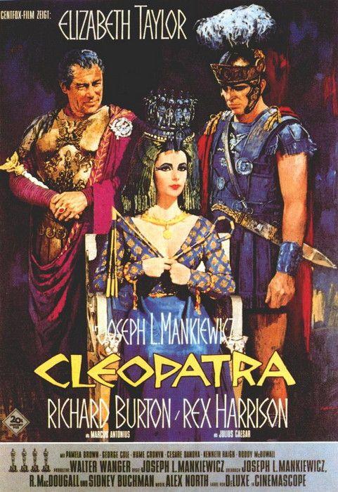 """Cleopatra"". Elizabeth Taylor, Richard Burton and Rex Harrison. Directed by Joseph L. Mankiewicz, 20th Century Fox, 1963."