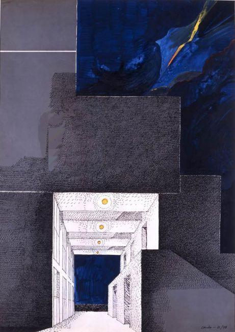 Carlo Aymonino, Studi per il Campus di Pesaro, IX/1978, Il centro civico nella tempesta 1 Inchiostro, inchiostro a spirito su carta, 70x50 cm.