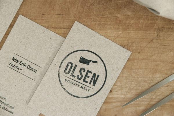 Olsen Quality Meats business card by Eivind Garlind Guttuhaugen Branding, Graphic Design, Packaging