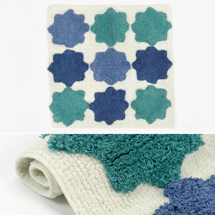Tapete de Banho Mosaico Branco, Verde e Azul 60 x 60 cm   A Loja do Gato Preto   #alojadogatopreto   #shoponline   referência 26866413