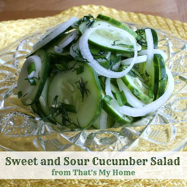 Sweet and Sour Easy Cucumber Salad - Cucumbers and onions in a sweet ...