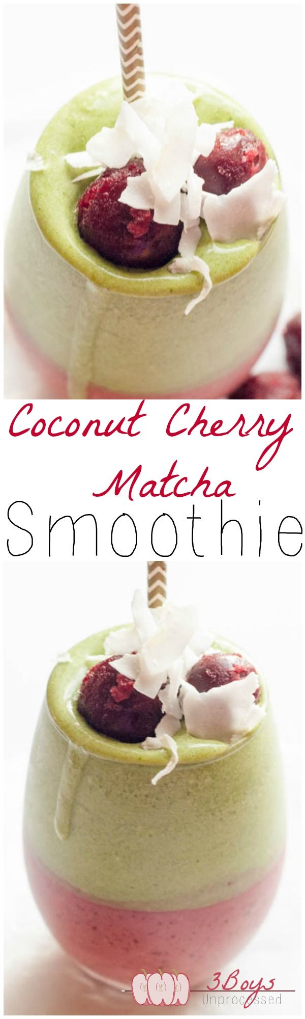 This Coconut Cherry Matcha Smoothie is a delicious way to take in a ton of antioxidants.