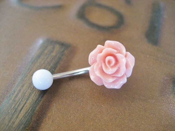 Rose Bud Belly Button Ring Coral Pink- Flower Floral Rosebud Navel Jewelry Piercing Bar Barbell on Etsy, $15.00