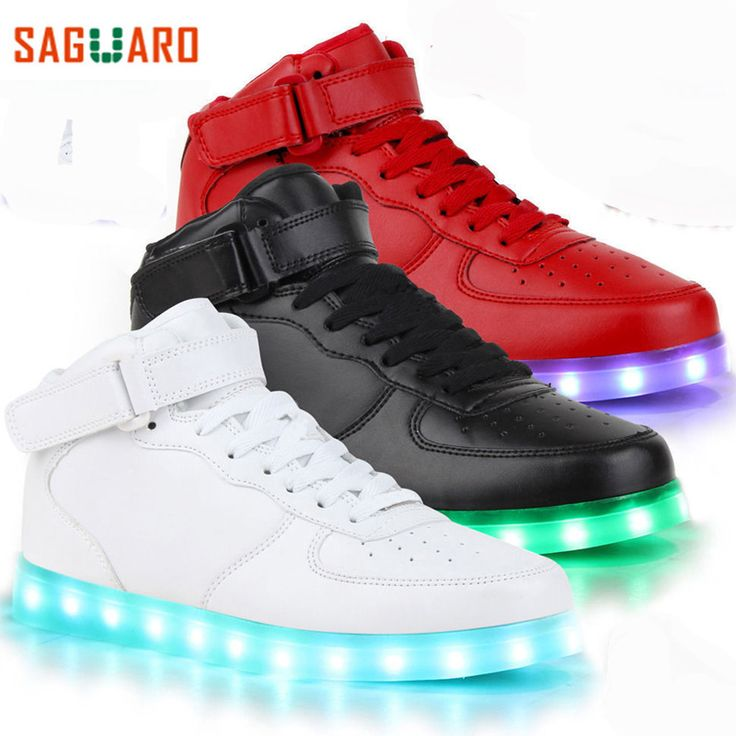 Saguaro New Glowing Sneakers Kids Fashion High Top Light Up Casual 7 Colors Usb Charge Sneakers With Luminous Sole Led Shoes Led Shoes Sneakers Kid Shoes