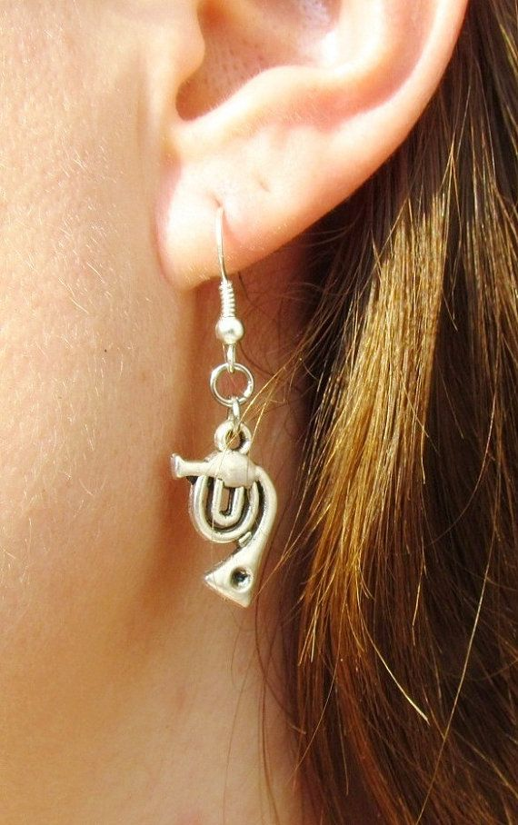 French Horn Trumpet Music Earring Retro Trumpet Jewelry Musical Instrument Cornet Brass Band Charm Trumpet Tiny Gift for a musician by Lovelyblackpanther #TrendingEtsy
