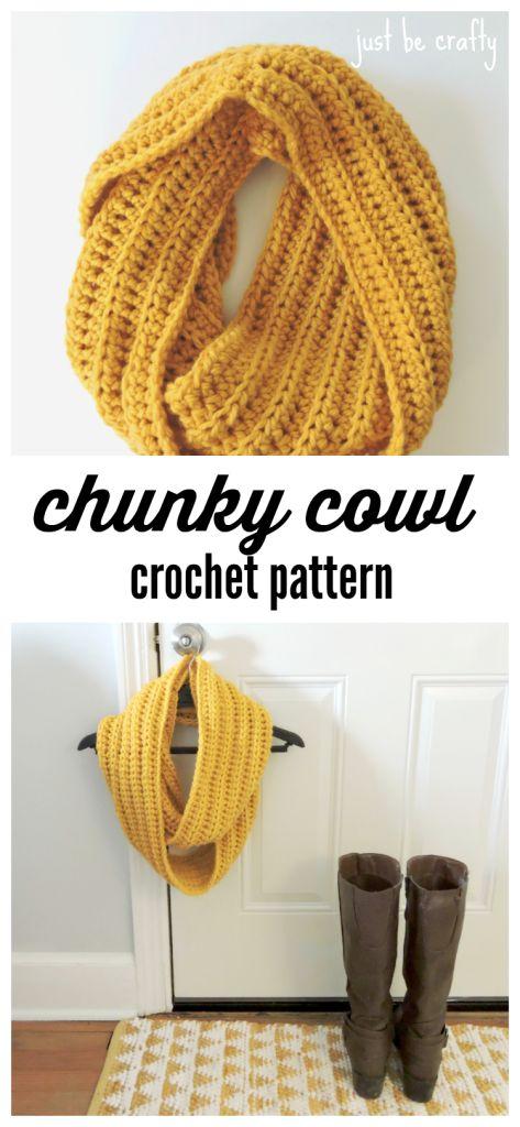 Chunky Crochet Cowl Pattern - Padrão grátis por