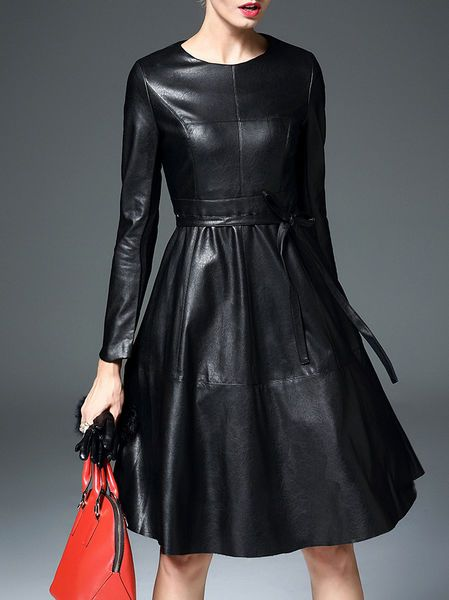 Leather paneled dress. Perfect church dress for the winter! and its past the knees!<3