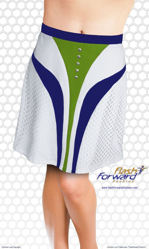 Golf Skirt (with shorts). Accents of layered mesh fabric, slimming lines of sharp contrasting colors and shiny silver hot fix add some fashion forward flair to any silhouette.