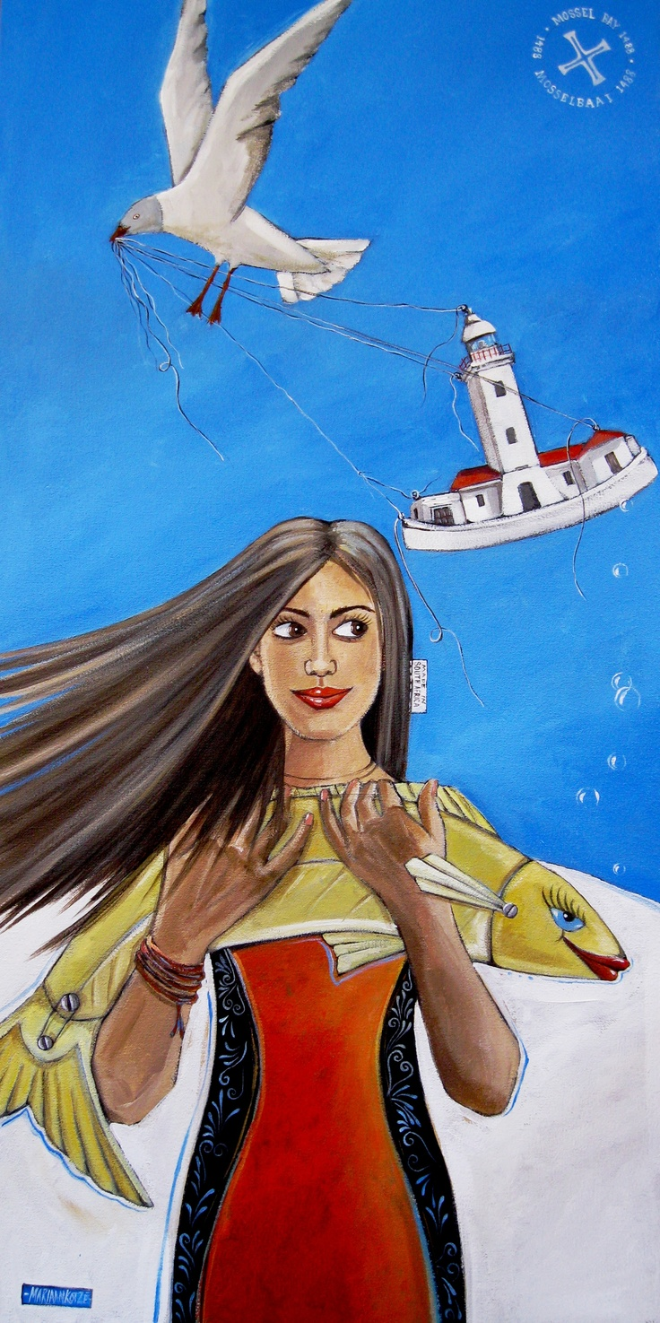Lighthouse Mossel Bay, symbolic painting by Mariaan Kotze