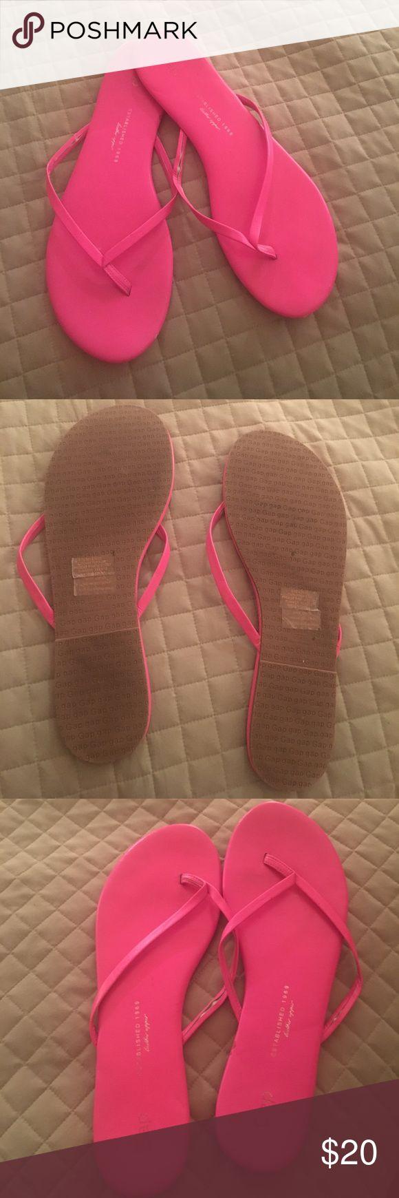 Neon Pink Flip Flop Pink flip flop. Thin leather strip GAP Shoes