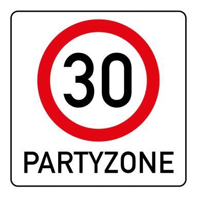Lustige, Quadratische Einladung Zum 30. Geburtstag Mit Verkehrsschild  Partyzone Tempo 30. (Hinweis