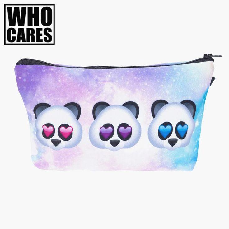 [Visit to Buy] Emoji panda Printing Necessaire Women Cosmetics Bags Travel Make up Bag Organizer Maleta de Maquiagem Organizador Makeup Bag #Advertisement