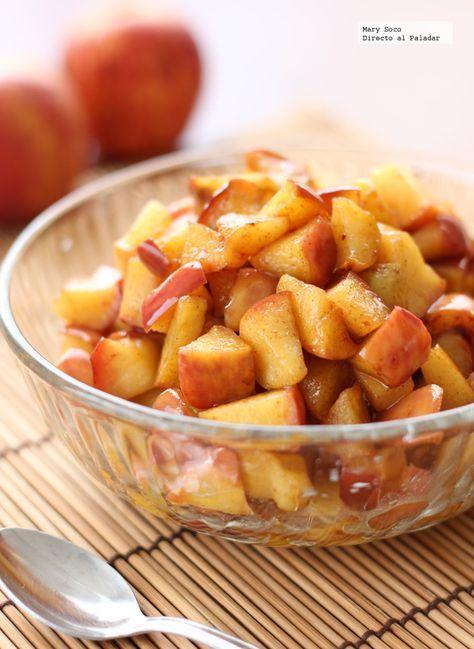 Receta de manzanas fritas con miel y canela. Con fotografías paso a paso, consejos y sugerencias de degustación. Recetas de postres de frutas