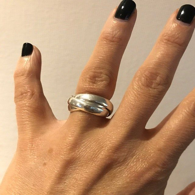 Stacking Ring Silver Ring Size K 12 Chunky Silver Ring Sterling Silver 2 Band Ring Russian Wedding Ring Interlocking Silver Ring