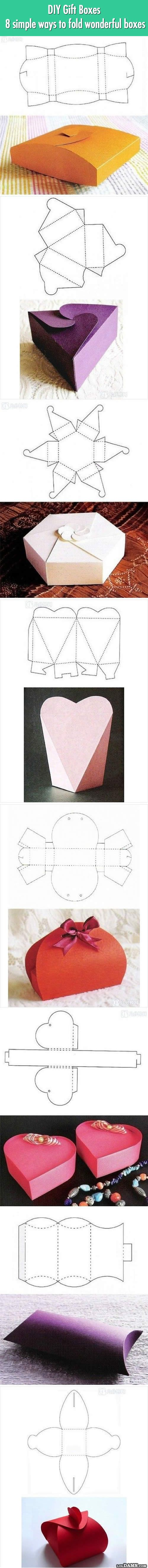 One picture will teach you how to fold 8 different gorgeous gift boxes.