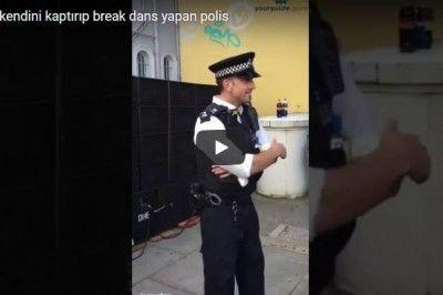 Müziğe kendini kaptırıp break dans yapan polis memuru