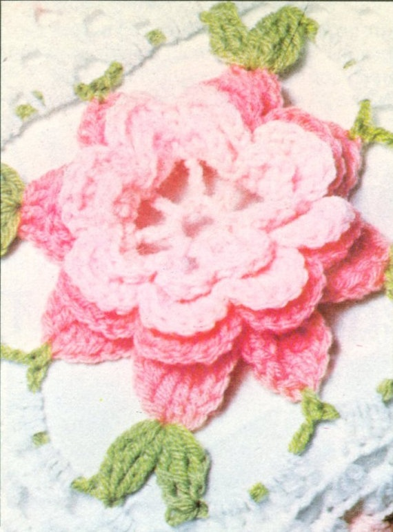 Crochet Rose Afghan Pattern : Rose Crochet Bedspread Vintage PATTERN PDF and Bonus ...