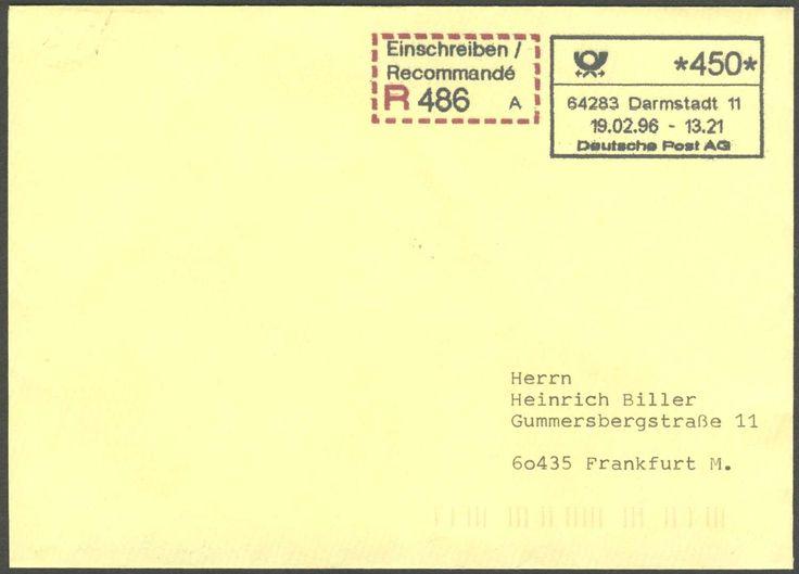 Germany, 19.02.1996/Bund, ABAS 1/=autom. Betriebsannahme-System, Darmstadt/ Luisenplatz, IBM.Automat 1 Jahr als Betriebs-Versuch, seltener R-Brief mit ATM-Eindruck, mit Gebühren-Quittung und R-Zettel. Price Estimate (8/2016): 15 EUR.