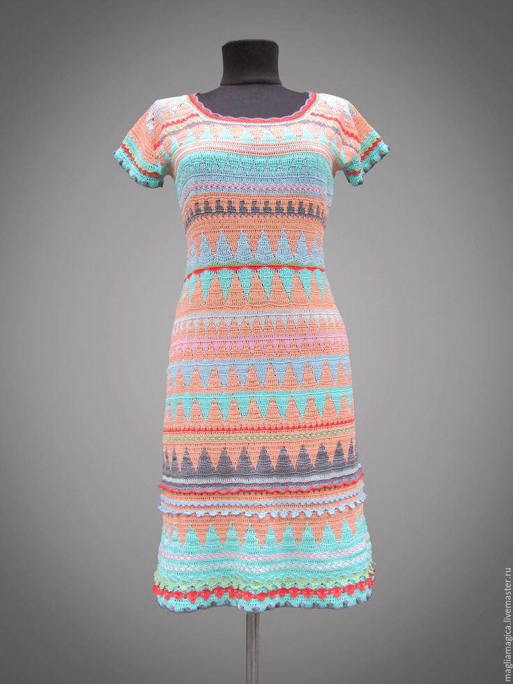 Купить или заказать Clara в интернет-магазине на Ярмарке Мастеров. Вязаное крючком платье, 'персикового' цвета. В платье использовано 8 цветов. Короткий рукав, юбка-трапеция. Платье отделано всяческими шишечками и рюшиками - его приятно не только носить, но и рассматривать и щупать :) Можно повторить в любой цветовой гамме. Бесплатная доставка в любую точку мира. К платью можно сшить подклад из хлопка или натурального шелка.