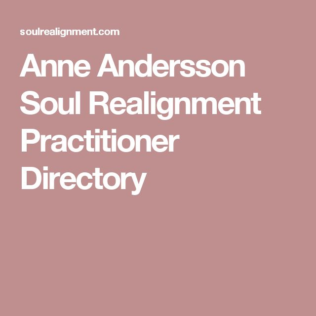 Anne Andersson Soul Realignment Practitioner Directory