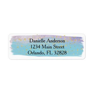 Blue,Purple & Gold Watercolor Return Address Label