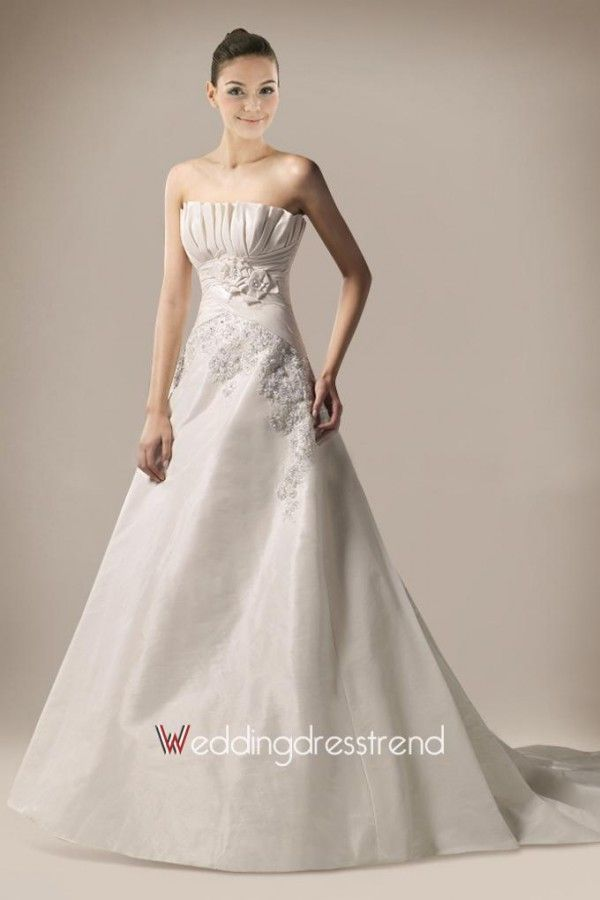 Cheap Ruched Appliqued A-line Scalloped-edge Wedding Dress - Beautiful Wedding Dresses Online Wholesaler and Retailer