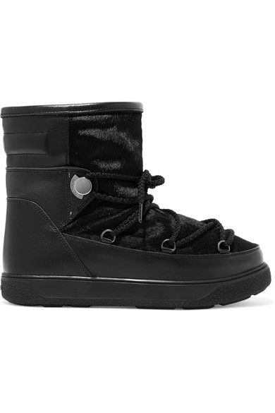 Moncler - New Fanny Shearling-lined Calf Hair And Leather Snow Boots - Black