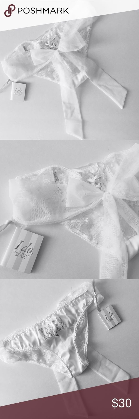 """Victoria's Secret """"Taken"""" Lace Bridal Underwear Brand new with tags still attached!  *Victoria's Secret Bridal Collection lace panties   *""""Taken"""" written on front   *corset bow tie on the back Victoria's Secret Intimates & Sleepwear Panties"""