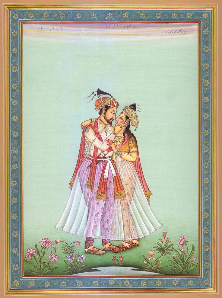 Shah Jahan and Mumtaz Mahal. Color painting on paper ...