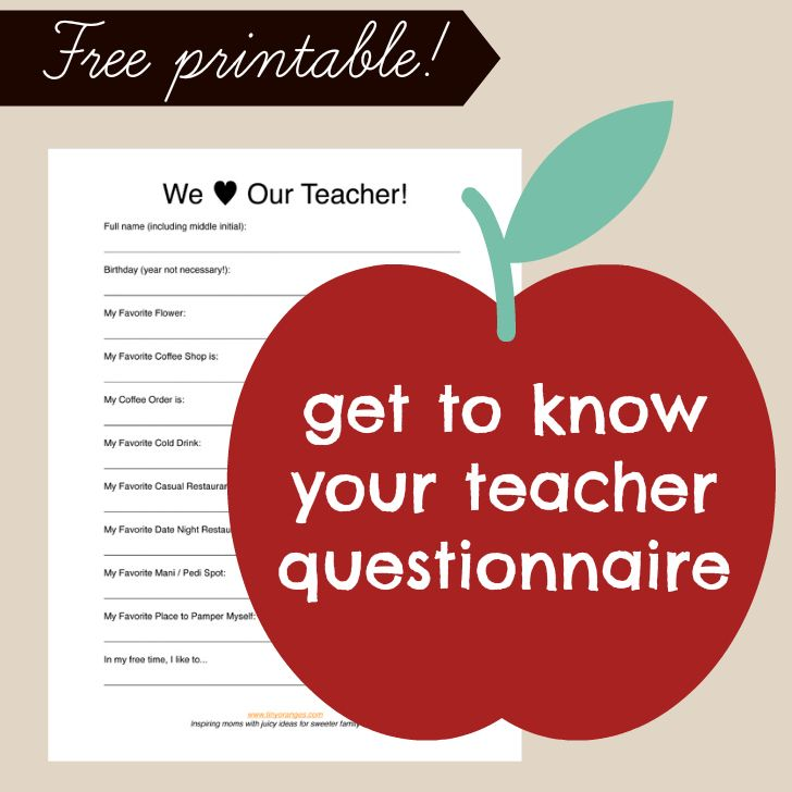 Get To Know Your Teacher Questionnaire #Backtoschool