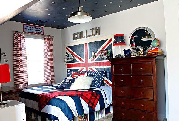 Union Jack ragazzo teen camera da letto con cielo soffitto