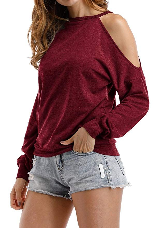 6f0ee593e854c Sarin Mathews Womens Halter Neck Top Cut Out Shoulder Blouse Sweatshirts at  Amazon Women s Clothing store