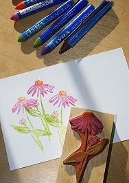 Watercolor crayons applied directly to stamp, misted and stamped - no black outlines with this technique: