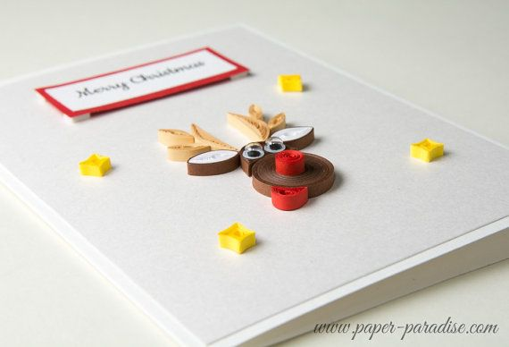 Funny Quilled Christmas Card Quilling Reindeer Rudolph Cute Sweet Handmade Xmas Greeting by PaperParadisePL