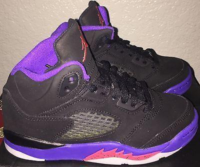 Girls Boys Jordan 5 Retro Basketball Shoes Youth size 12 Y Black / Purple NIB