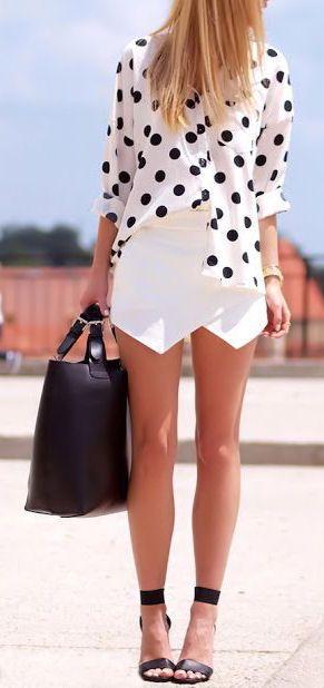 Cute asymmetrical skirt  #monochrome #blackandwhite #summer #style #fashion #trends #polkadots #asymmetrical