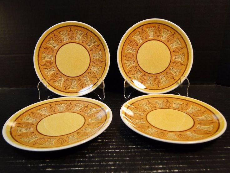 "FOUR Taylor Smith Taylor Honey Gold Bread Plates 6 3/4"" Set of 4 EXCELLENT #TaylorSmithTaylor"