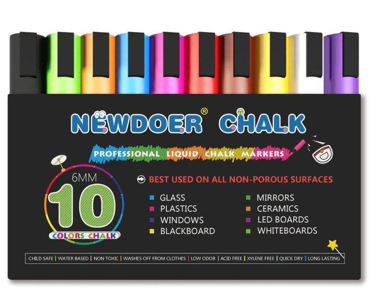 10 Cor Brilhante Neon Caneta Marcador Giz Líquido Conjunto Criança Amigável Perfeito para Quadros-negros, Bistro, janelas De Vidro Etiquetas Whiteboa