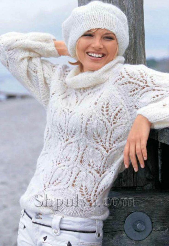 Пуловер и берет с листьями, вязаные спицами